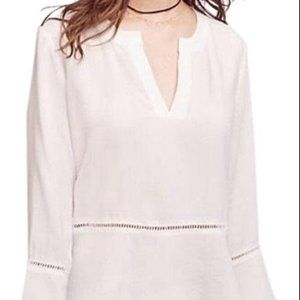 Cloth & Stone White Ladder Lace Henley Top Size XS